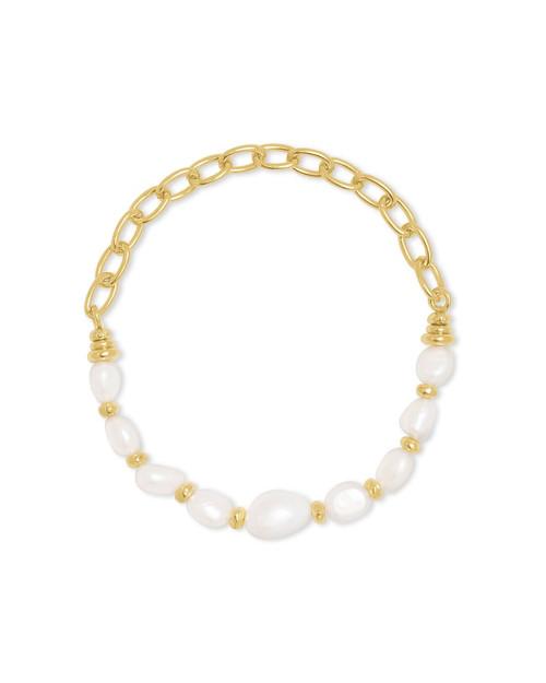 Demi Stretch Gold Pearl Bracelet