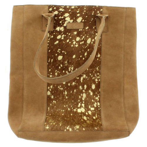Bessie Large Tote Gold Foil Suede