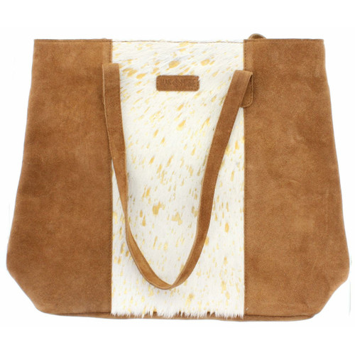 Mable Tote White Gold Cowhide