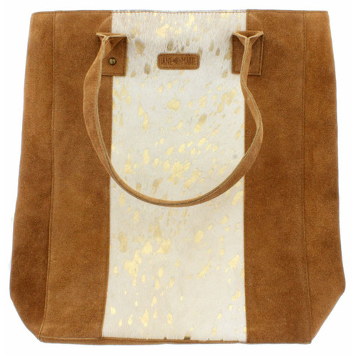 Mable Large Tote White Gold Cowhide