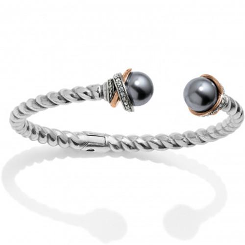 Neptune Rings Grey Pearl Hinged Bangle