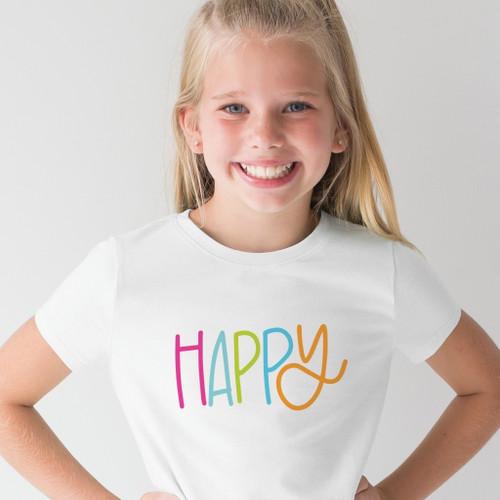Large Kids Happy V Neck T Shirt
