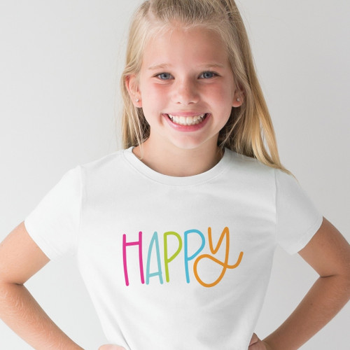 XLarge Kids Happy V Neck T Shirt