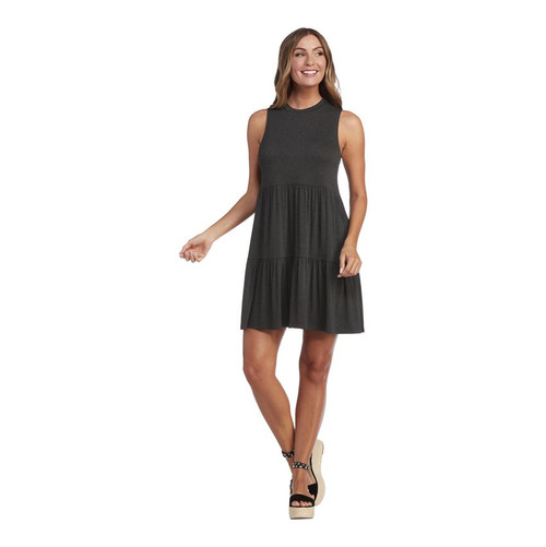Large Tully Tiered Dress Charcoal