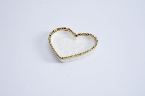 White & Gold Mini Heart Dish