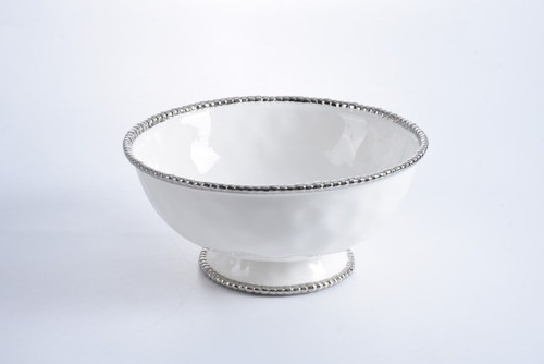 White & Silver Oversized Footed Bowl
