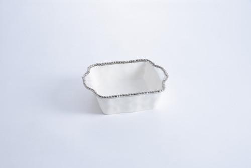 White & Silver Square Baking Dish