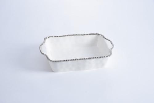 White & Silver Rectangular Baking Dish