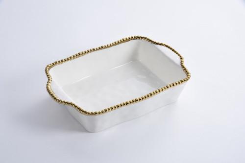 White & Gold Rectangular Baking Dish