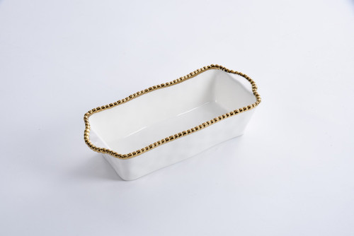 White & Gold Loaf Baking Dish