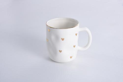 White With Gold Hearts Mug