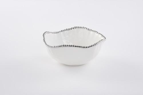 Large Salad Bowl White & Silver
