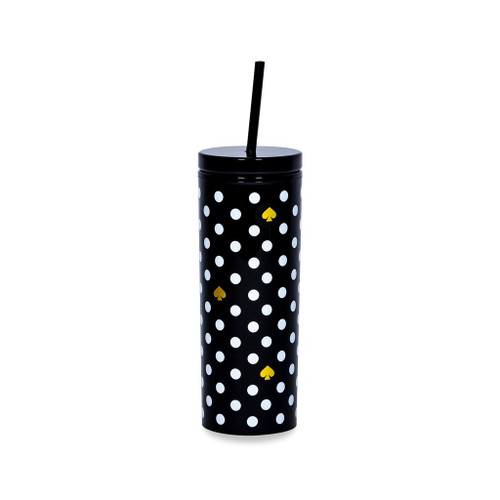 Black Polka Dots Tumbler with Straw