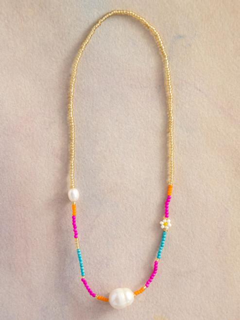 Gold Daisies & Pearl Bracelet Choker