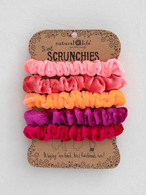 Pink Velvet Scrunchies Set of 5