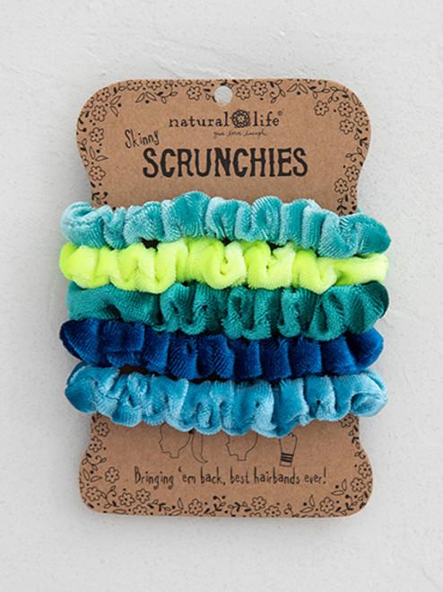 Blue Velvet Scrunchies Set of 5