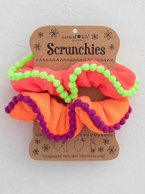 Pink Terry Pom Pom Scrunchie Set