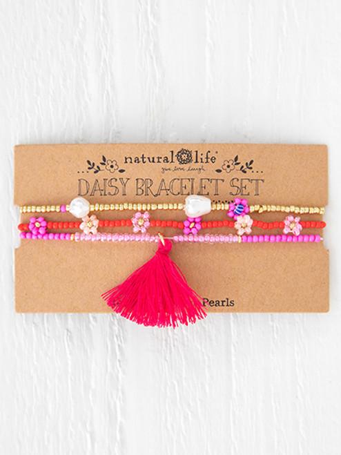 Pink Daisy Bracelet Set