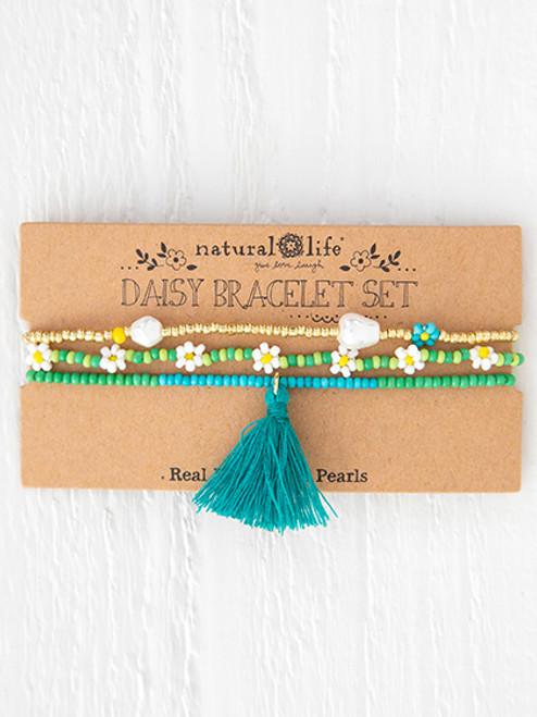 Green Daisy Bracelet Set