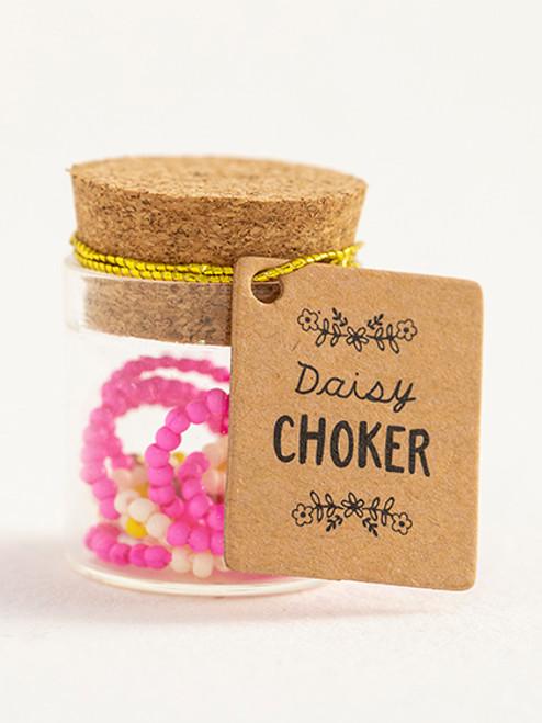 Magenta Beaded Daisy Choker