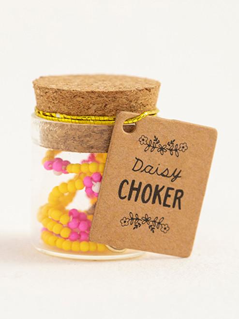 Lemon Beaded Daisy Choker