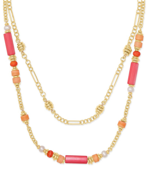 Rachel Gold Pink Multi Strand Necklace