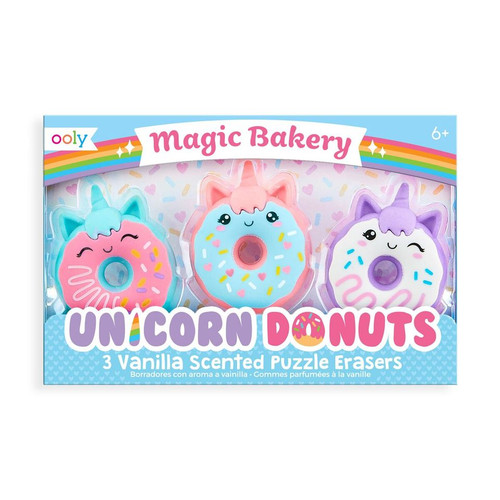 Unicorn Donuts Scented Erasers Set of 3