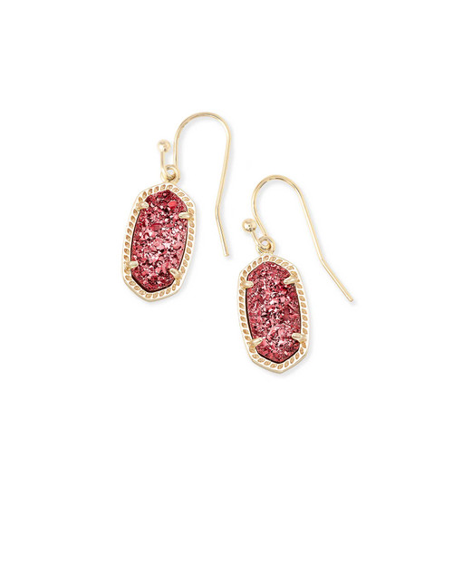 LEE EARRING GOLD RASPBERRY DRUSY