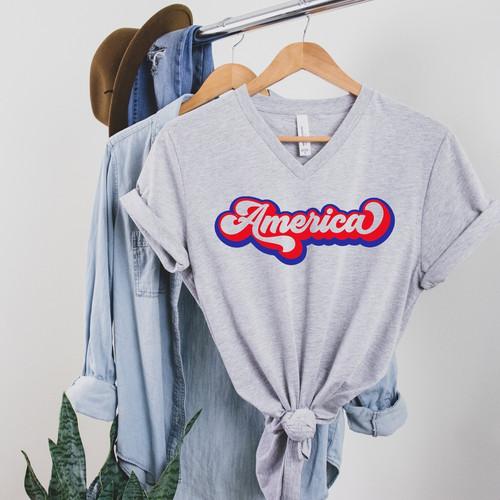 America Retro V Neck T Shirt