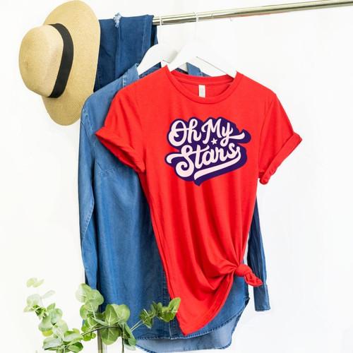 Oh My Stars Retro Red T Shirt