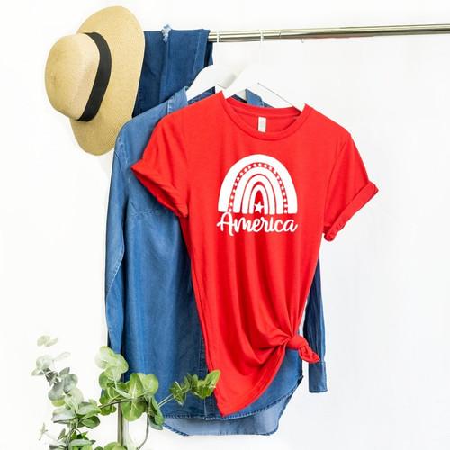 America Rainbow Red T Shirt