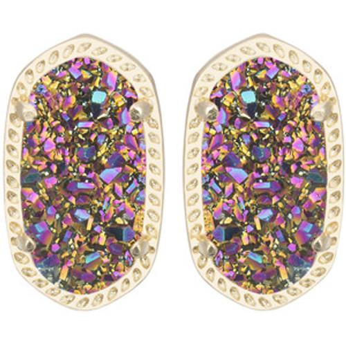 Ellie Gold Stud Earrings In Multi Drusy