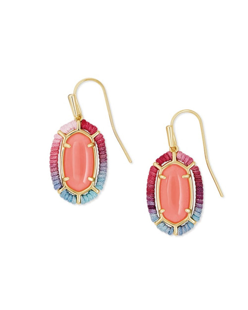 Threaded Lee Drop Gold Coral Earring