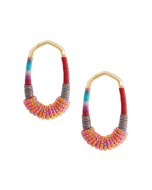 Masie Open Frame Gold Coral Mix Earring