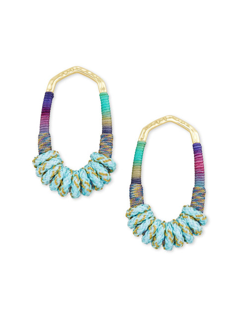 Masie Open Frame Gold Mint Mix Earring
