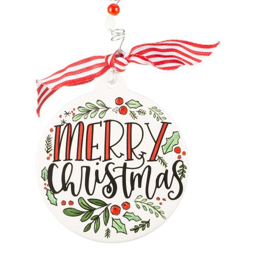 Merry Christmas Holly Ornament