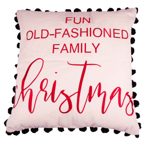 Fun Old Fashioned Family Christmas Pillow