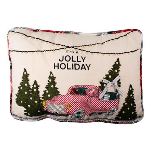 Jolly Holiday Truck Pillow