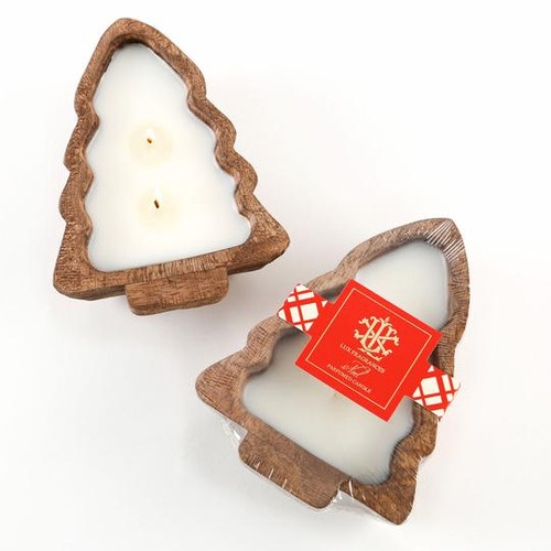 Noel 2 Wick Candle In A Wooden Tree Bowl