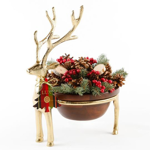 Noble Fir Small Reindeer Decorative Fragranced Botanicals In A Wooden Bowl