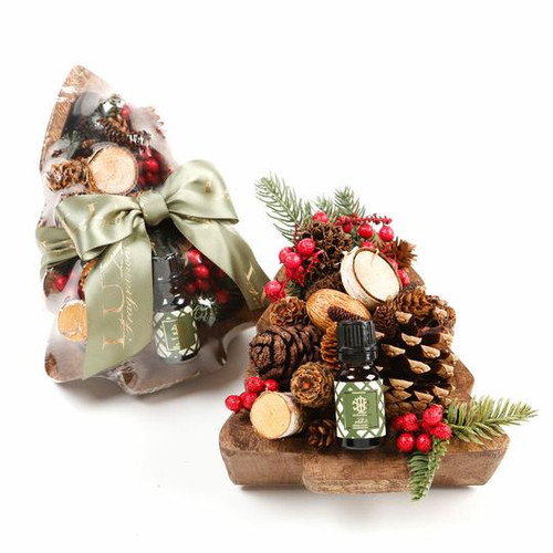 Noble Fir Decorative Fragranced Botanicals In A Wooden Tree Bowl