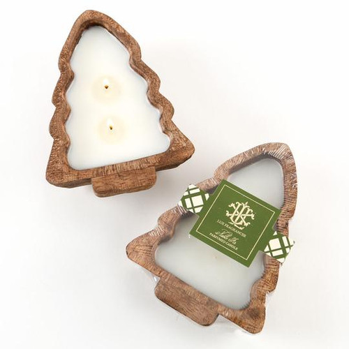 Noble Fir 2 Wick Candle In A Wooden Tree Bowl