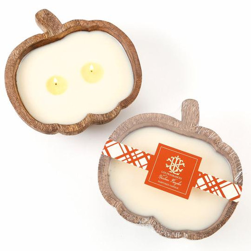 Heirloom Pumpkin 2 Wick Candle In A Wooden Pumpkin Bowl