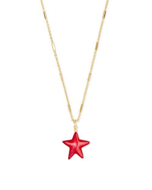 Jae Star Gold Red Carved Necklace