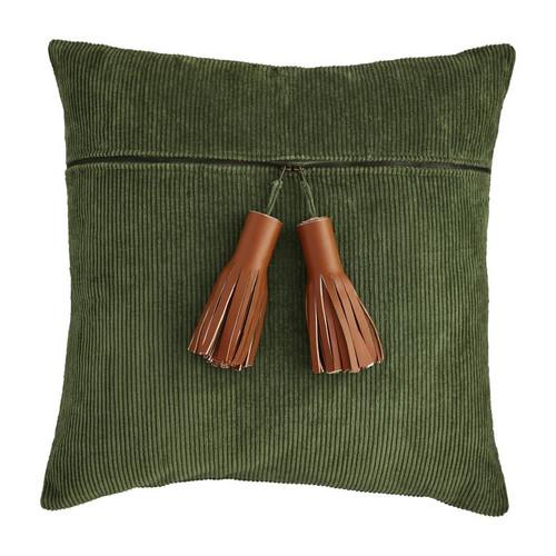 Green Corduroy Zipper Pillow