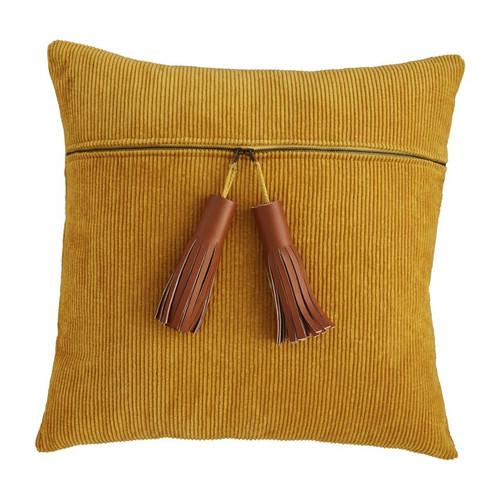 Mustard Corduroy Zipper Pillow