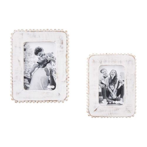 5x7 White Beaded Frame