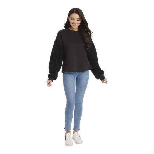 Medium Layla Sherpa Black Sweatshirt