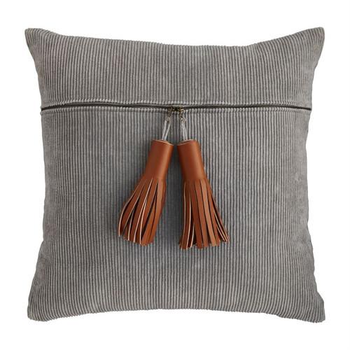 Gray Curdoroy Zipper Pillow