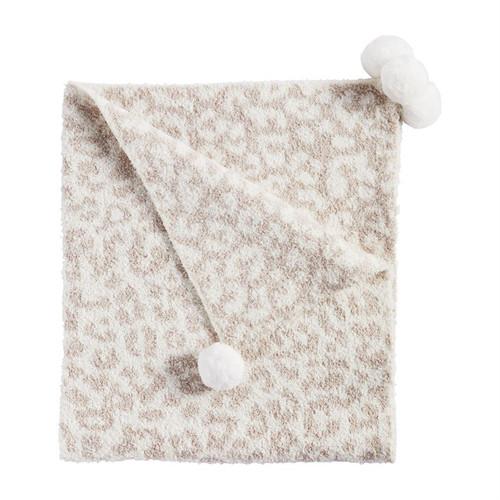Ivory Chenille Leopard Blanket